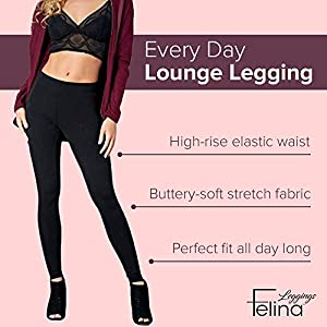 Felina Velvety Super Soft Lightweight Leggings 2-Pack – for Women – Yoga Pants, Workout Clothes