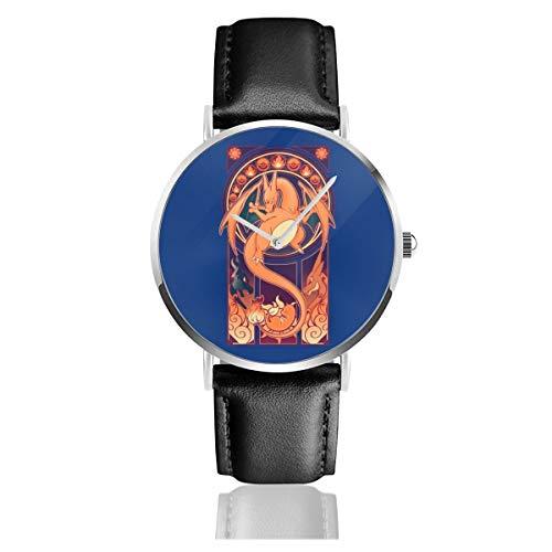 Unisex Business Casual Monster of The Pocket Charizard Art Deco Uhren Quarzuhr Leder mit schwarzem Lederband für Männer Frauen Junge Kollektion Geschenk
