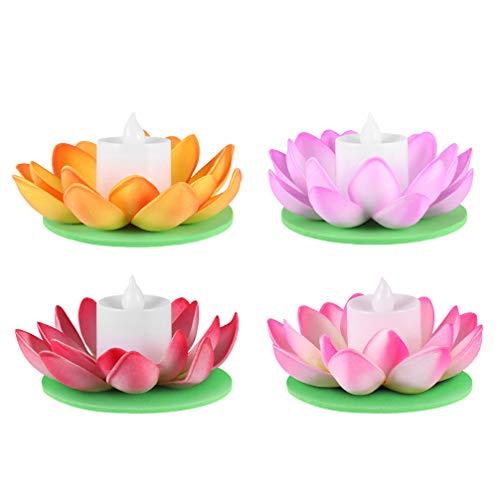 OSALADI 4 Stücke Künstliche Seerosen LED Lotus Laterne Schwimmende Blumen Beleuchtung Lotusblume Wasserdicht Lotusblüte Lotusblatt mit Licht für Pool Teich Garten Deko 11.5cm