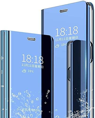 Capa espelhada de maquiagem para Huawei Mate 20 Lite, capa protetora com suporte dobrável à prova de choque, suporte à prova de choque, fina, antiqueda (azul)
