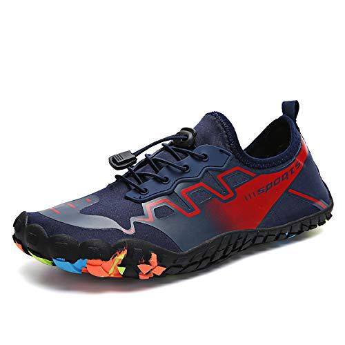 Phefee Zapatos de agua de secado rápido al aire libre descalzo para mujer para hombre, para agua, playa, vacaciones, natación, buceo, surf, yoga, color Azul, talla 42.5 EU