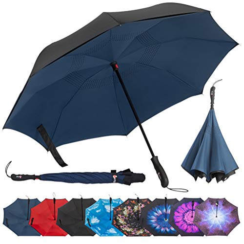 Repel Reverse Folding Inverted Umbrella with 2 Layered Teflon Canopy with Reinforced Fiberglass Ribs (Navy Blue)