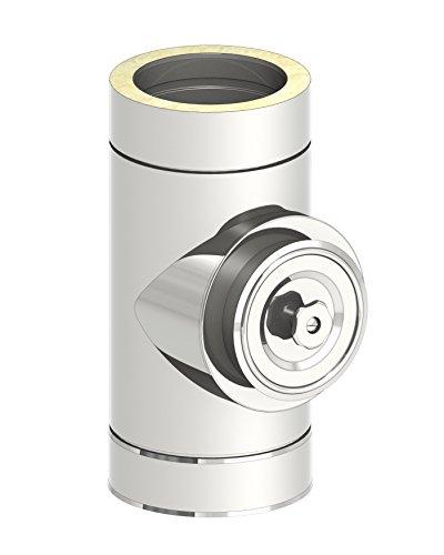 Reinigungselement rund (Deckel für Öl und Gas) für doppelwandige Schornsteine DW; Innen/Außen je 0,5 mm Wandstärke; Ø 180mm Innendurchmesser, Edelstahl