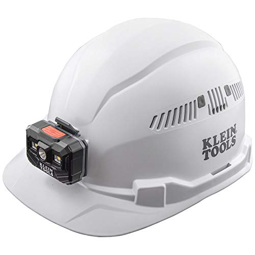 Klein Tools Hard Hat, Vented, Cap Style with Headlamp,60113,White