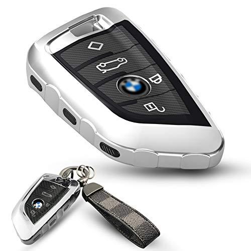 CADISTE Cover Guscio Silicone per Chiave BMW – Custodia in TPU Morbida Cromata per Telecomando Keyless BMW Serie 1 3 5 7 X1 X3 X4 X5 X6 F30 E30 Protezione, con Portachiavi per Chiavi a 3 Pulsanti