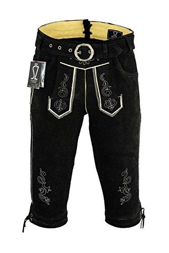 Shamzee klederdracht lederen broek knielang inclusief riem van echt leer in zwart kleur maat 46-62
