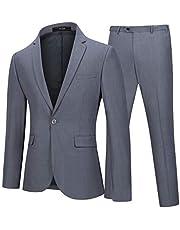 بدلة رجالي من قطعتين من YFFUSHI بدلة رسمية ذات تصميم نحيف بلون موحد مناسبة للزفاف