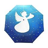 AOTISO Silueta de Trompeta de ángel Azul Marino Starry Galaxy Star Paraguas automático a Prueba de Viento de Viaje Compacto Auto Abrir Cierre Ligero Plegable Paraguas de Lluvia