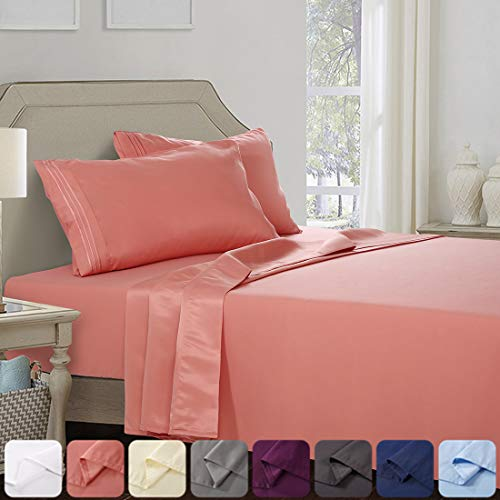 Abakan Bed Sheet Set King Size Super Soft 4 Piece Bedding Sheet Smooth Microfiber 1800 Thread Count Luxury Premium Cooling Sheets Breathable Fade Resistant Deep Pocket (King, Coral)