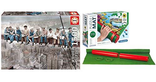 Outletdelocio Pack Puzzle Educa 16009. Almuerzo en Nueva York. 1500 Piezas + Tapete Universal Puzzle Roll Clementoni 30297