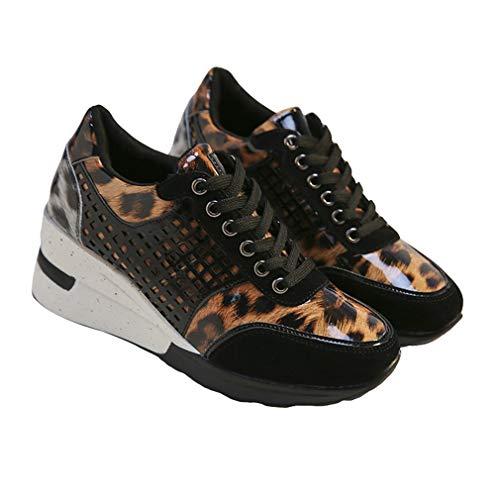 Mujer Zapatos Deportes Moda Empalme Zapatos de Plataforma Malla Respirable Zapatos para Correr Tacón de Cuña Zapatillas Casuales Zapatos Plano