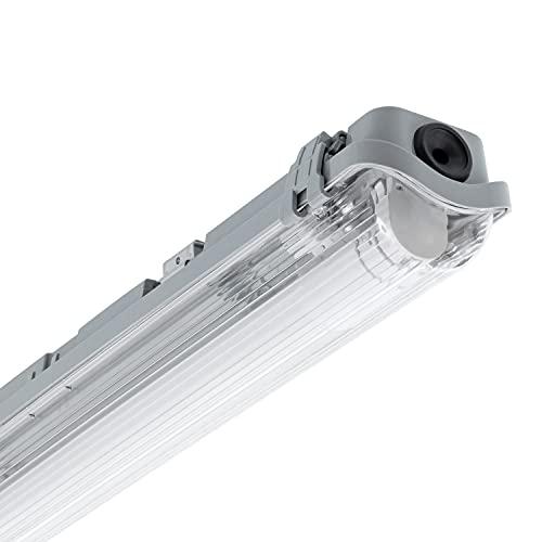 LEDKIA LIGHTING Kit Pantalla Estanca Slim con un Tubo LED 1200mm Conexión un Lateral Blanco Cálido 2800K - 3200K