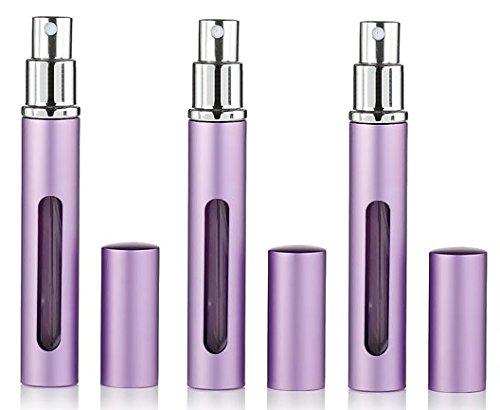 Atomizador de perfume recargable de viaje de 3 unidades, de aluminio, 5 ml, caja de bomba de aroma vacío (morado)