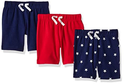 Amazon Essentials - Pack de 3 pantalones cortos con cintura elástica para niño, Uni Americana, Bebé prematuro, 40 cm