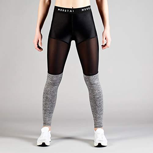 MOROTAI Mesh Tights Damen - Sporthose Leggins Blickdicht Laufhose Yoga Sport - Fitnesshose Sportleggins Lange Hose - Schwarz/Grau Melange - S