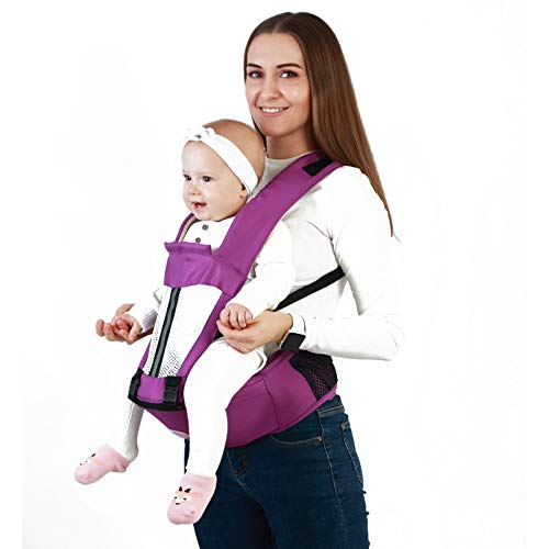 XWU Baby Carrier, Ergonomic Baby Carrier with Detachable Hip Seat Lightweight Breathable Front Back Carry Backpack Multifunction Baby Hug for Hiking Shopping Travel