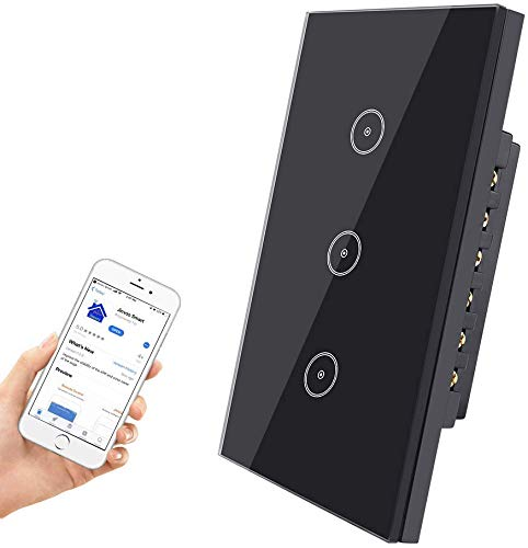 Jinvoo WiFi smart wall touch light switch, smart phone remote control, compatible with iOS and Android, with Alexa Echo and Google Assistant, ETL certified (WIFI-3gang switch-Black 1pack)