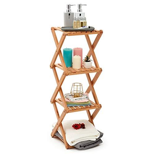 EZOWare Faltbares Badregal, 4 Regale Aufbewahrungsorganizer aus Holz, Schmales Stehregal für schmale Räume, Küche, Bad, Wohnzimmer - Buchenholz