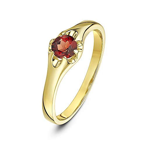 Theia Women's 9 ct Yellow Gold, Round Garnet Stone Set in a Prong setting Signet Ring, Size M