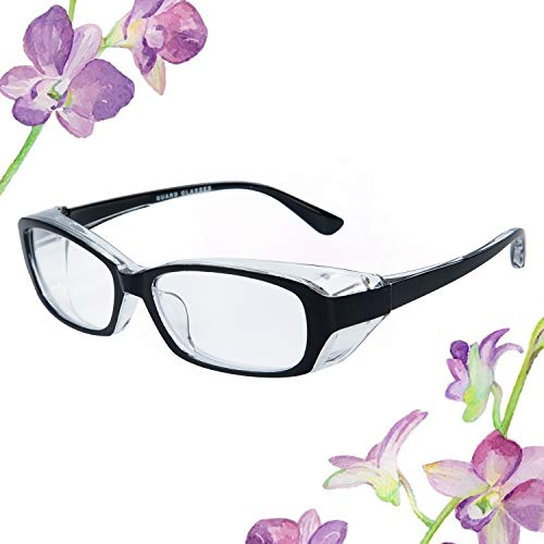 ColorCoral 花粉メガネ ゴーグル 曇らない 防塵めがね ブルーライト UVカット 飛沫 ウイルスにも対応 超軽量 花粉対策 眼鏡 耳にやさしい 男女兼用 おしゃれ (ブラック)