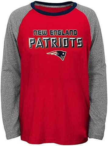 Outerstuff New England Patriots Youth Boys 4 18 Red Heathered Raglan Long Sleeve T Shirt X Large product image