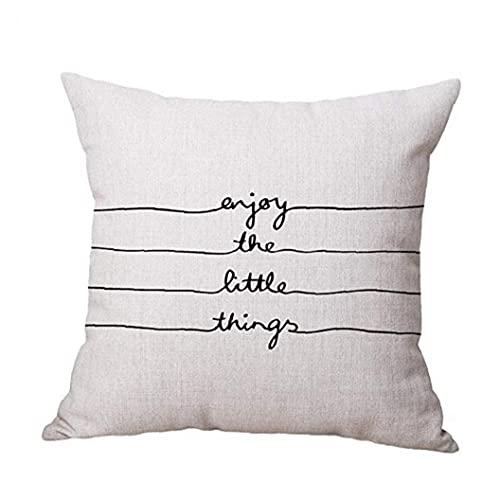 Cuadrado De Algodón De Lino Letra De La Impresión Decorativa Throw Pillow Caso Almohada 45cm * 45cm Funda De Almohada Blanca