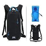 LGQ Mochilas de hidratación con vejiga de Agua de 2 litros Mochila Ligera para Bicicleta de Ciclismo con Tira Reflectante para Viajar Mochila de hidratación para Hombres y Mujeres,Black Blue