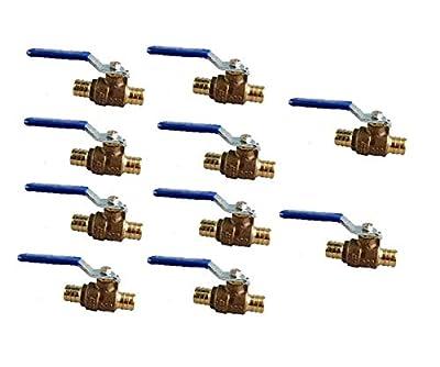 "EZ-Fluid 3/4"" Pex Brass Ball Valve Full Port Water Stop Shut Off,Lead Free,Pex Fittings on Both End for Pex Tubing,Barb Crimp Ring Type,Quarter Turn(10-Packs) by Talent International Trading Inc"