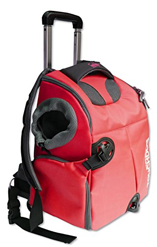 Touchdog 'Wuffle Duffle' 2-in-1 Wheeled Backpack Sporty Fashion Pet Dog Carrier, One Size, Red