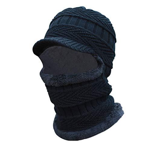 Sombrero de pasamontañas de Invierno cálido Bufanda de Punto Sombrero de esquí Gorras con Visera