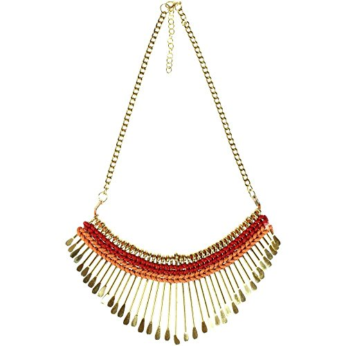 CHICNET ketting rood oranje messing statement staafjes goud katoen nikkelvrij 44-48-5 cm antiek tribal