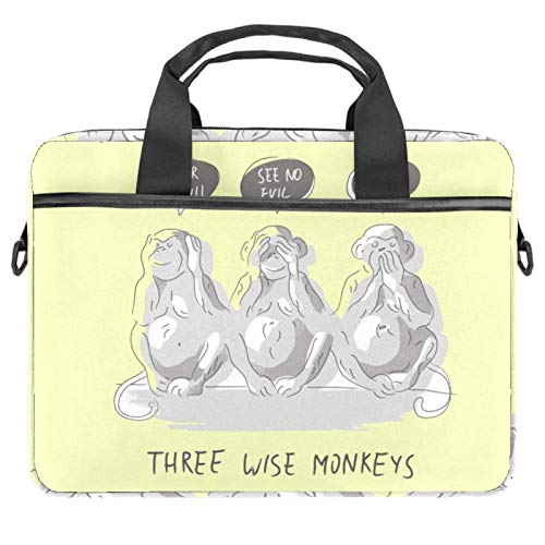 Laptop Bag Three Wise Monkeys Notebook Sleeve with Handle 13.4-14.5 inches Carrying Shoulder Bag Briefcase