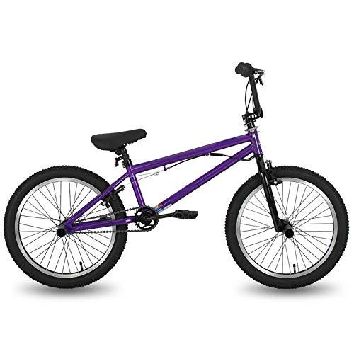 FingerAnge Bicicletta da 20 Pollici BMX Freestyle in Acciaio, Bicicletta da Acrobazia con Freni a Doppia Ruota Purple
