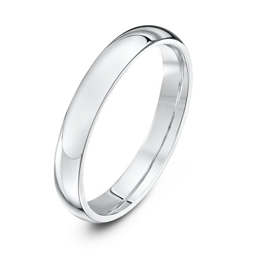 Theia Unisex Super Heavy Court Shape Polished 9 ct White Gold 3 mm Wedding Ring - Size H