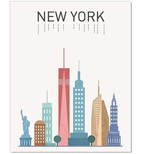 New York Print New York Art New York Poster New York Landmark Print New York Map Wall Art New York Buildings New York Famous Building NYC Art Gift Idea Unframed 8x10