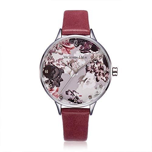 VICTORIA HYDE Damen Uhr Blumenmuster Zifferblatt Analoges Quarzwerk Leder Armband