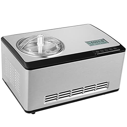 Deckey 2L Eismaschine, Eismaschine mit 180W selbstkühlendem Kompressor, Automatische Eismaschine, LCD-Display, satinierter Edelstahl, für Eis, Joghurt und Sorbet innerhalb von 60 Minuten hergestellt