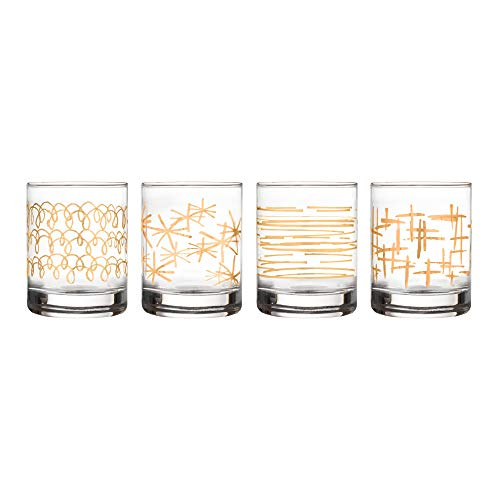 Fifth Avenue Crystal Festive Set of 4 Old Fashioned Glasses, Gold