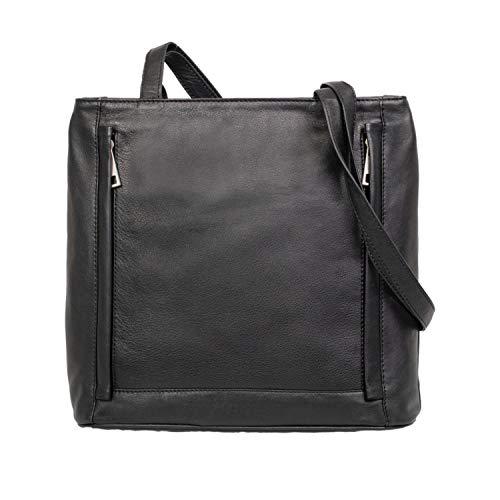 Alassio 29079001 - Damestas SARA, dames handtas van echt leer, handtas met ritssluiting, 2 hoofdvakken en vakje voor mobiele telefoon, leren handtas in zwart, shopper ca. 26 x 6 x 28 cm.