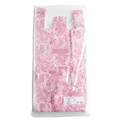 レジ袋 かわいい 手提げ袋 ビニール袋 店舗用品 業務用 (B.花柄 M 100枚)