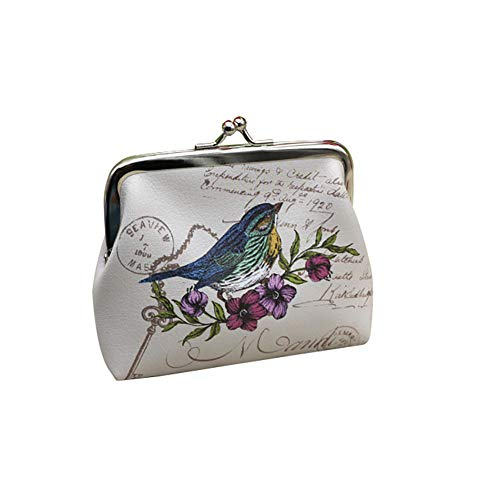 Kanggest Sac de Rangement Portefeuille Imprimé Papillon/Chouette/Oiseau/Horloge Murale/Fleur Bleue rétro Femme Sac à Main Trousse de Toilette