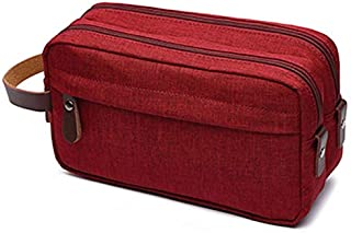 SODIAL Red Makeup case Travel Canvas Cosmetic Makeup Organizer Women Toiletry Bag Beautician Beauty Case Men Makeup Bag