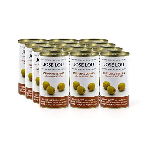 José Lou Oliven 12er - grüne Oliven gefüllt mit Anchovis | ohne Stein