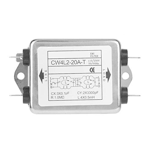 Fafeicy CW4L2-20A-T Stromleitungsfilter Strom-EMI-Filter Stromfilteranschluss mit 115 V/250 V, 20 A, 50/60 Hz