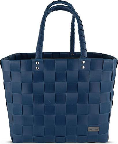normani Flecht-/Einkaufskorb - inkl. eingenähter Innentasche für Schlüssel, Handy etc, Farbe Blue Shadow