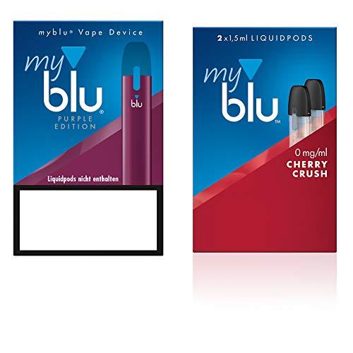 Elektrische Zigarette myblu Farbe Purpur - Starter Set mit Podpack Aroma Cherry Crush - Ohne Nikotin + Original myblu Soft Touch Pen + Glitzer Tattoo Set