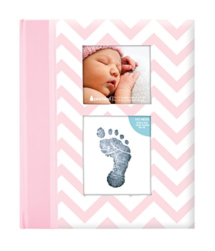 Pearhead First 5 Years Chevron Baby Memory Book with Included Clean-Touch Baby Safe Ink Pad to Create Baby's Handprint or Footprint, Keepsake Milestone Journal, Beautiful Gift for Any New Mum, Pink