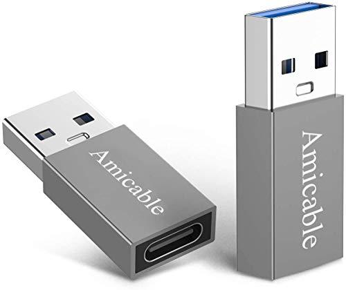 Adaptador USB C a USB 3.0 (2 unidades), adaptador convertidor de tipo C 3.1 hembra a USB 3.0 macho adaptador para USB C a USB C cable/USB C SDD, PC, portátil, Google Pixel, Nexus 5X, 6P, Lumia 950