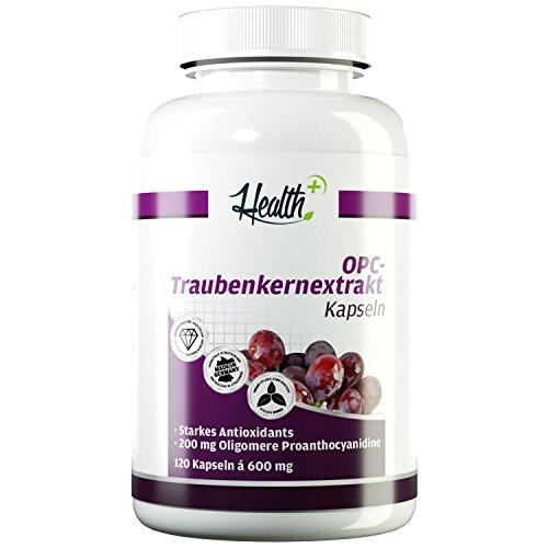 HEALTH+ OPC Traubenkernextrakt - 120 Kapseln, 200 mg reines OPC Pulver - Oligomere Proanthocyanidine, OPC Kapseln hochdosiert & vegan, Made in Germany