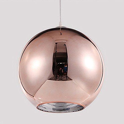Huahan Haituo Lámpara colgante de bola de cristal de color de lámpara de espejo moderna, luz colgante ajustable, pantalla de lámpara de techo para cocina, comedor, bar (25cm cobre)